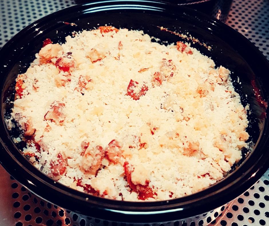Cuisine traiteur crumble noix parmesan potimarron