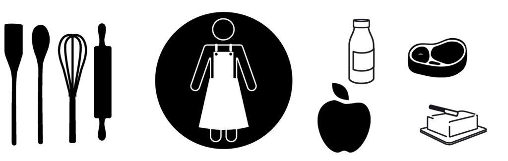 Ustensiles de cuisine tablier ingrédients